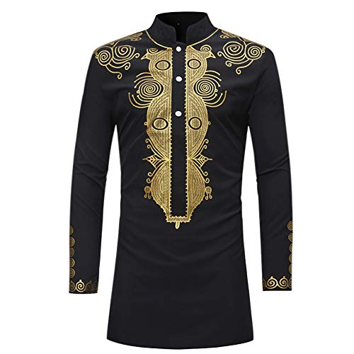 Zhuhaixmy African Traditionelle Tops Dashiki - Mittellang Slim Fit Mode Lässige T-Shirt