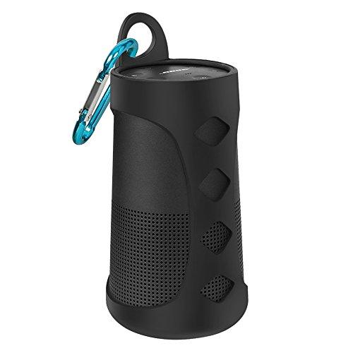 AresKo Silikon Tasche für Bose Revolve, Einfach Reise Tragen Silikon Hülle Case Cover für Bose SoundLink Revolve Bluetooth Lautsprecher, Schwarz