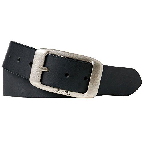 TOM TAILOR für Frauen Belts Leder-Gürtel im Used-Look, Black, 75