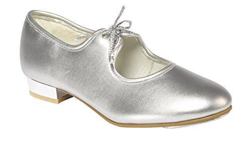 Tappers & Pointers Mädchen Silber PU Niedriger Absatz, Schuhe Größen 5Kleine bis 5große, Silber - Silber - Größe: 32 EU