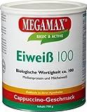 Megamax Eiweiss Cappuccino. Molkenprotein + Milcheiweiß Eiweiß Protein mit Biologischer Wertigkeit ca. 100. Für Muskelaufbau und Diaet. Inhalt: 750 g