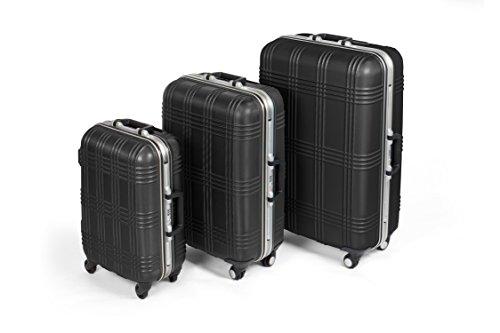 MasterGear Hartschalenkoffer mit Aluminium Rahmen Set 3 teilig in schwarz   3er Kofferset   Koffer mit 4 Rollen (360 Grad)   Trolley, Reisekoffer, ABS, TSA, S (Handgepäck Maße)-M-L, stapelbar -