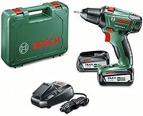 Bosch 14,4V Akkuschrauber PSR 14,4 LI-2 mit 2 Akku, Ladegerät, Doppelschrauberbit, Koffer (14,4 Volt, 2,5 Ah)