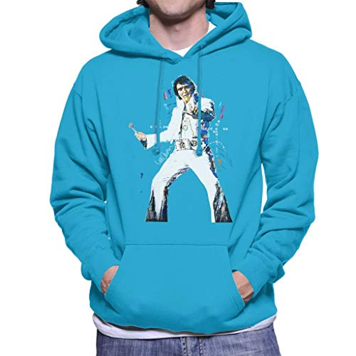 VINTRO Elvis Presley Männer Kapuzenpullover Original-Porträt von Sidney Maurer (Saphirblau,M) -