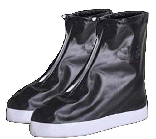 Black Temptation Pluie Chaussures Couverture antidérapante Wear Chaussures Housse étanche [Noir]
