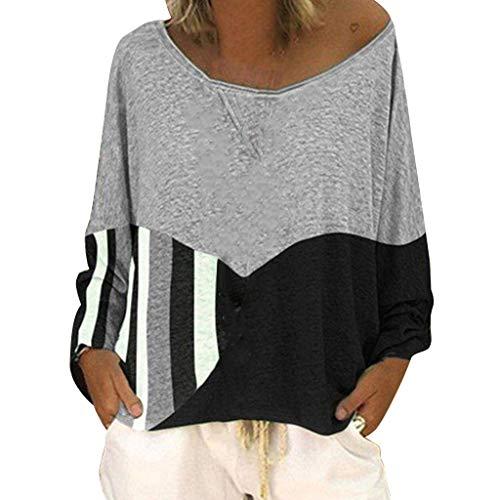 Malloom-Bekleidung Frauen Beiläufige Lose Runde Ansatz Lange Hülsen Farbe, Die Hemd Blusen Zusammenbringt Langärmliges, Weit Geschnittenes Oberteil