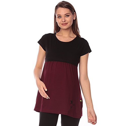 Goldstroms women's Round Neck Maternity/Feeding/Nursing Tshirt/Top/Tee (Large, Maroon)