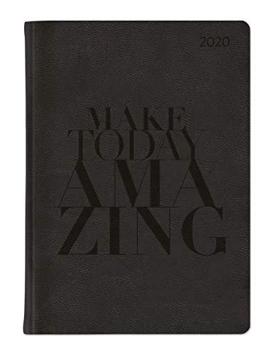 Ladytimer Grande Deluxe Black 2020 - Taschenplaner - Taschenkalender A5 - Tucson Einband - Motivprägung Typografie - Weekly - 128 Seiten -