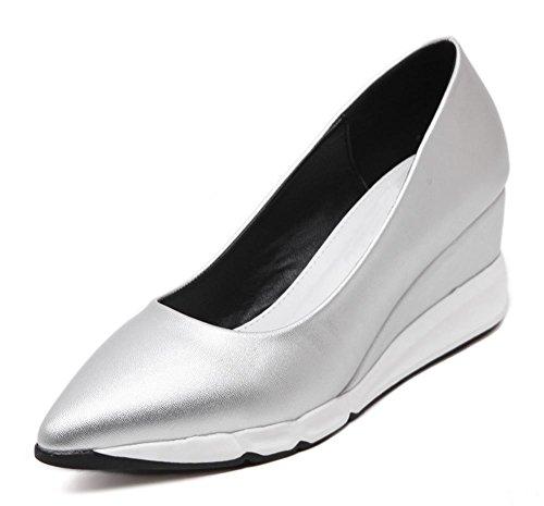 La signora Primavera scarpe a punta scarpe ascensore pendio spesso della crosta della focaccina con scarpe col tacco alto scarpe da single Silver