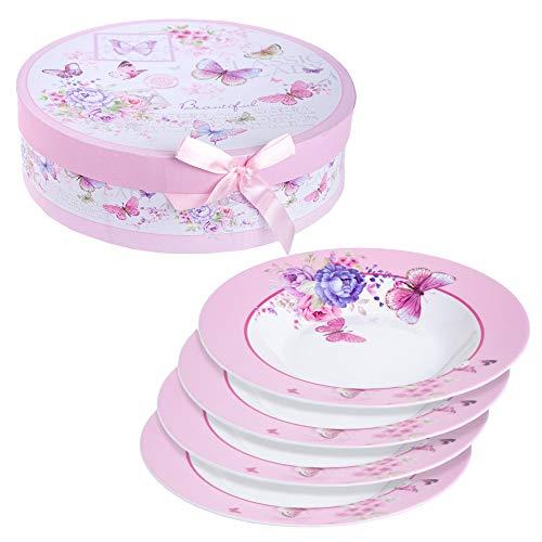 Juego de 4 cuencos de porcelana fina china para pasta de sopa, 23 cm Butterflies Rose