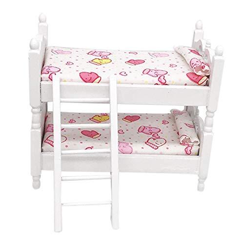 Colorful Puppen Etagenbett, Mini Puppenhaus Möbel Bett Set Miniatur Wohnzimmer Kinder Pretend Play Spielzeug 13.7x8.1x12cm (B) - Kinder-möbel-etagenbetten