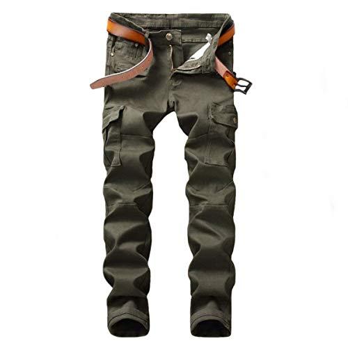 Herren Cargohose Mit Multi-Tasche Vintage Microbombe Motorrad Mittlere Jeans Taille Gerade Jeans Hose Ohne Rtel (Color : ArmyGreen, Size : 31) -