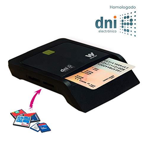 Descripción Lector de DNI Electrónico y de tarjetas de memoria  Características - Soporta SD, SDHC, MS, T-F, M2, ATM. (hasta 32 GB) - Compatible USB 2.0. - Alta velocidad de lectura (sobre 20 Mbps). - Alta velocidad de escritura (sobre 18 Mbps).