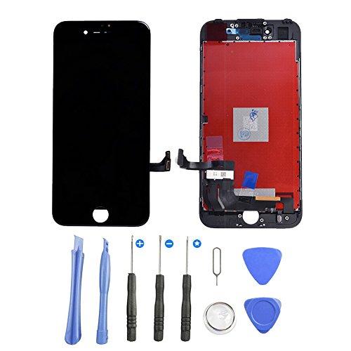 Supnew LCD Display für iPhone 7 Schwarz, LCD Touchscreen Digitizer Front Komplettes Glas Display Retina Reparatur Ersatz Bildschirm für iPhone 7 Schwarz (4.7) + Werkzeugset