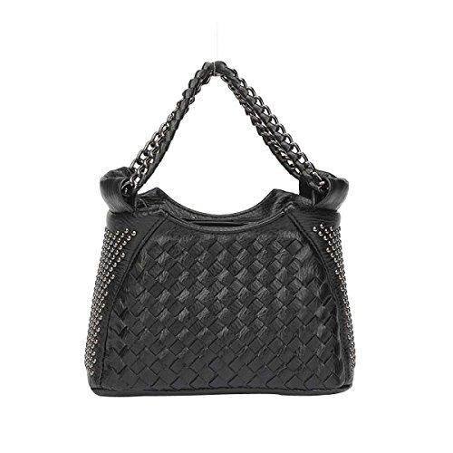 Art Der Frauen Gesponnenen Beutel Art Und Weise Niet Umhängetasche Mini-Reißverschluss Tasche Black