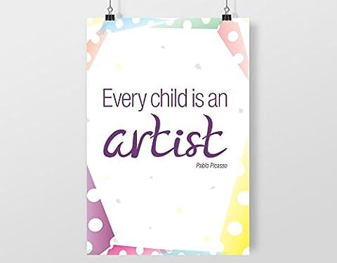 Pablo Picasso – Every Child Is An Artist A4 numérique art impression décoration murale affiche