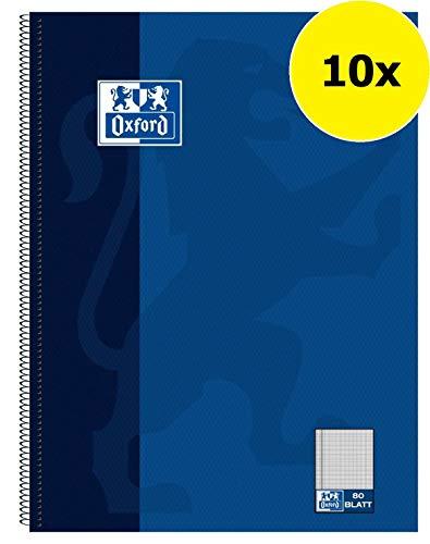 Oxford 100050358 Collegeblock Schule 10er Pack A4 kariert mit einem Rand 80 Blatt gelocht dunkelblau