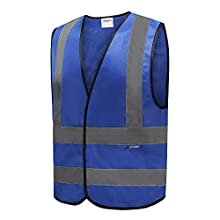 6 Colors Optional Reflective Vest High Visibility hi viz vis Executive Waistcoat(M-3XL) (L, Blue)
