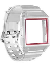 für fitbit ionisches Band mit Rahmen Fall TPU Abdeckung Schutzhülle Smart Watch weiß mit rot Stitching