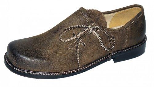 Trachtenschuhe Herren Haferlschuhe Trachten-Schuhe Leder braun antik Ledersohle Schnürschuhe Tanzschuhe Lederschuhe Glatte Sohle für Tänzer Plattler zur Lederhose zum Tanzen, Größe:48 - 3