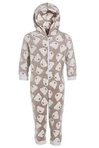 Camille - Kinder Schlafanzug-Einteiler mit Kaupuze - extra weiches Fleece-Material - Bären-Motiv - Grau 9-11 Yrs