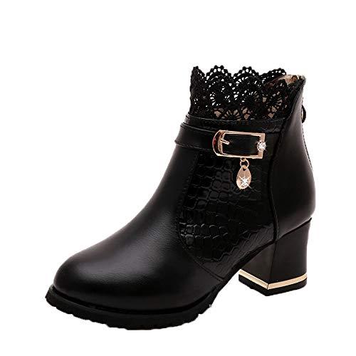 Bazhahei donna scarpa,ragazza scarpe fondo spesso sottile corto tube shoes,invernali/autunno tacchi alti scarpe singole stivaletti flat shoes casual con tacco basso stivale,boots moda da donna