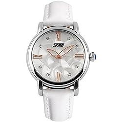 XLORDX Damen Armbanduhr Armreif Kette Roman Kristall Quarzuhr Uhr Vintage Elegant Weiß Leder
