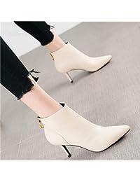 bf539b68 HRCxue Zapatos de la Corte Joker Puntiagudos Tacones de Aguja Moda Espalda  Cremallera Temperamento Botas Desnudas