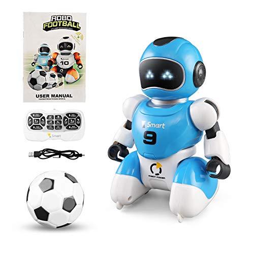 Interaktive Fernbedienung Roboter Spielzeug, Kinder Roboter Spielzeug mit Walking Music Dance Roboter, Indoor Soccer Game Spielzeug Geschenke für 3-10 Jahre alte Jungen Mädchen (blau)