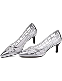 Onfly Zapatillas Tacones Zapatos de la Corte Sandalias Secretaria Sencillo Cuero Respirable Hueco Tacones medianos...