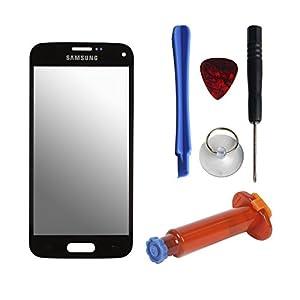Frontglas Display Ersatzglas Bildschirmglas für Samsung Galaxy S5 Mini inkl. Werkzeug UV Kleber Schwarz