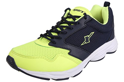 Sparx Men's Navy Blue Fluoresce Green Colour SM0258 Series Synthetic and Nylon Mesh Sports Shoes 9UK