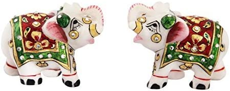 Handicrafts Paradise Meena Work Marble Elephant Showpiece (8.2 cm x 4.5 cm x 7 cm, Set of 2),Multicolor