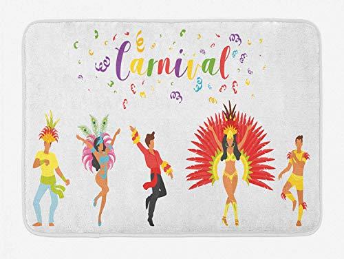 Bilder Kostüm Ethnischen - AoLismini Mardi Gras Badeteppich, Karneval Schriftzug mit Tänzern in ethnischen Kostümen und festlichen Bild, Plüsch Badteppich mit Antirutsch-Unterstützung, Mehrfarbig