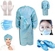 ORILEY Disposable PPE Kit with Coverall Gown, Hand Gloves, Goggles, 3 PLY Face Mask, Shoe Cover and Head Cover