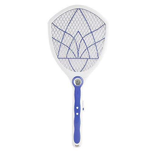 Elektrische Fliegenklatsche, wiederaufladbarer Bug Zapper Tennisschläger, berührungssicheres Mesh-Netz, eingebaute Taschenlampe, tötet Insekten, Mücken und Mücken(Blau)