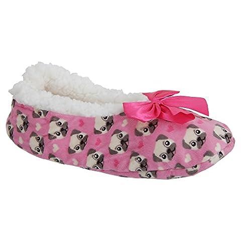 Universal Textiles , Chaussons pour femme - rose - Pink (Pug), 37 1/3