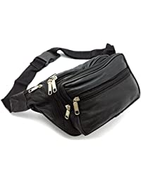 ODS UK® REAL LEATHER BUM WAIST BAG TRAVEL HOLIDAY MONEY BELT POUCH BLACK  CHANGE eeb802140bb68