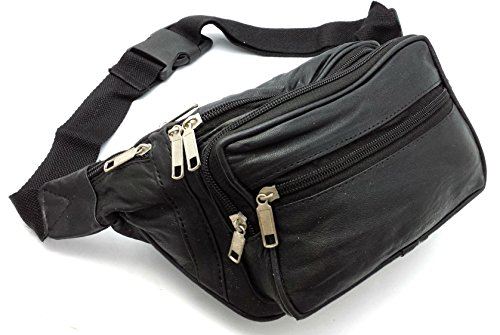 ODS:UK® REAL LEATHER BUM WAIST BAG TRAVEL HOLIDAY MONEY BELT POUCH BLACK CHANGE BUMBAG