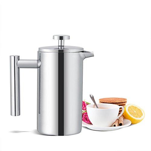 Kaffeebereiter,Edelstahl Doppelwandig Kaffeekanne mit Edelstahlfilter und French Press System,Für...