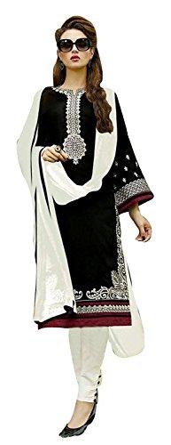 B4U Fashion Womens Embroidered Black Cotton Un-stitched A Line Salwar Kameez Suit Dress Material with Nazneen Dupatta