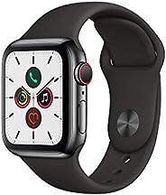 Apple Watch Series 5 (GPS+Cellular, 40 mm) Cassa in Acciaio Inossidabile Nero Siderale e Cinturino Sport - N