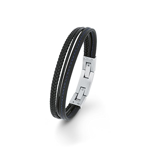 s. Oliver Children's Teenagers Boys Steel Braided Leather Bracelet 20cm565516