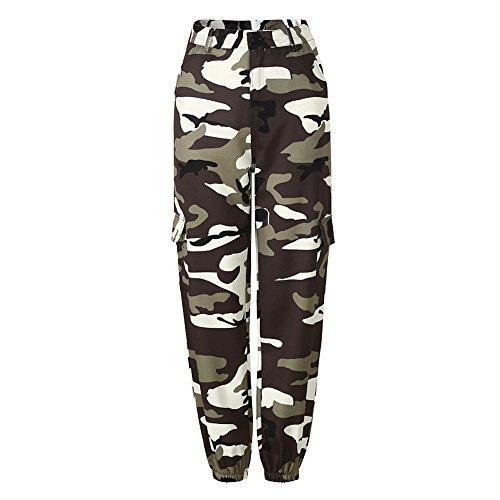 Mxssi Heiße Frauen Camouflage Hose Hohe Taille Hip Hop Camo Hose mit taschen Grau - Cargo-hosen Frauen Camo