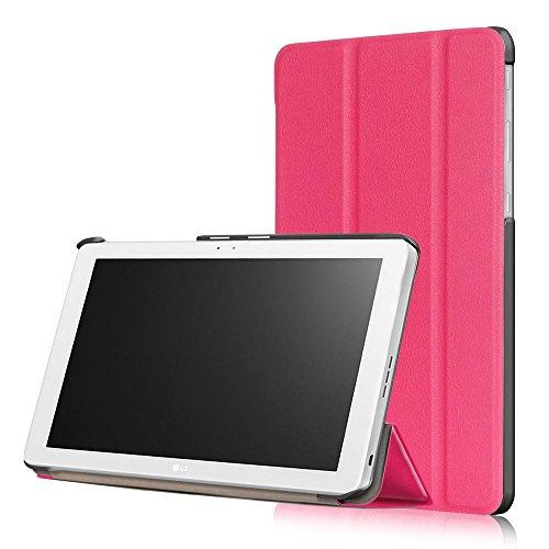 DETUOSI LG G Pad 3 10.1 X760 (2016 Modello) Custodia Cover - Standing Folio Smart Case Cover,Slim Cover Custodia Protettiva in Pelle PU per LG G Pad 3 10.1'' Tablet,Hot Rosa