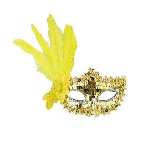 Halloween Masken , Prevently Tanzparty Maske Feather Pailletten Elegante Augenmaske Maskerade Ball Karneval Fancy Party Halloween Geburtstagsfeier Prop Weihnachten Geschenk Feder Streifen Pailletten Gestickte Maske (Gelb)