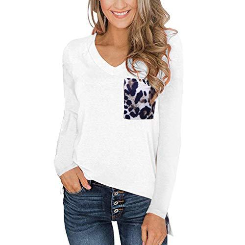 Monstars ❤️ Magliette Donna Casual con Leopardo Sciolto V Tasca T Shirt Taglie Forti Tinta Unita Manica Lunga Elegante Sciolto Camicie Patchwork Pullover Tops