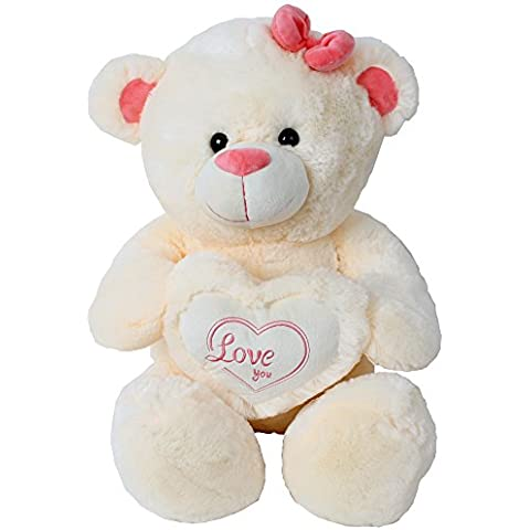 Gigante oso de peluche Peluche Animal De Peluche Peluche gigante Riesenteddy con la almohada del corazón Love you 80 cm crema