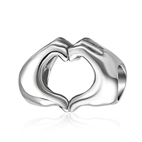 Love Heart in your Hands Charm Bead-Fingers With Hearts Sterling Silver 925 Charm-Romantic Gifts for Her on Birthday,Valentines