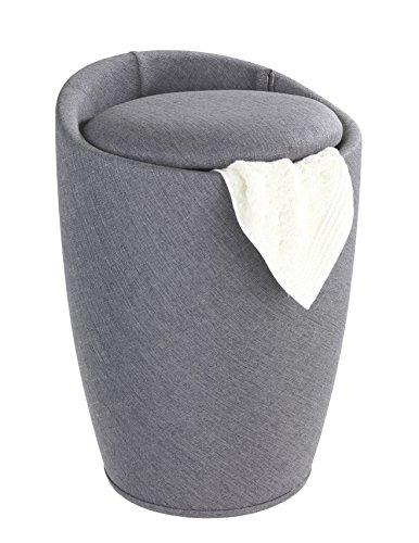 Wenko 22448100 Hocker Candy Grey Leinenoptik - Wohnhocker, Badhocker, Wäschesammler mit abnehmbarem Wäschesack, ABS, 36 x 50.5 x 36 cm - 2